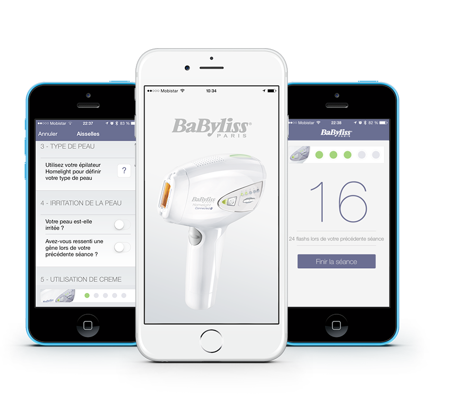 Epilateur Babyliss a lumiere pulsee bluetooth et application